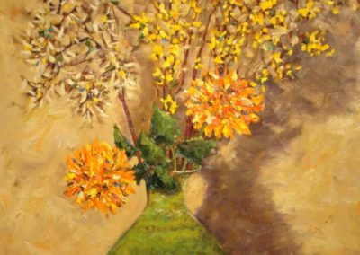 Dahlie and Forsythia in a Green Vase