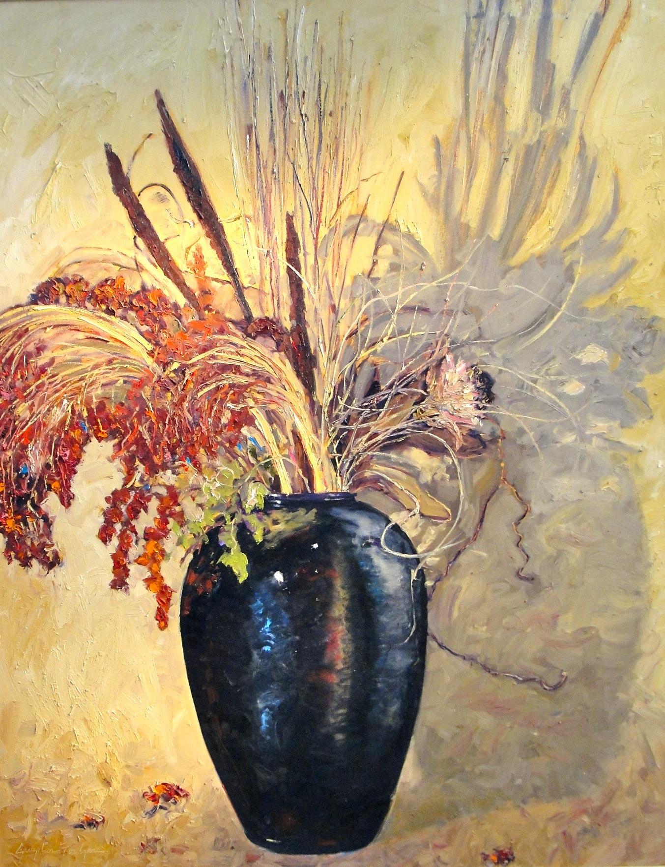 Dried Bouquet in Black Vase
