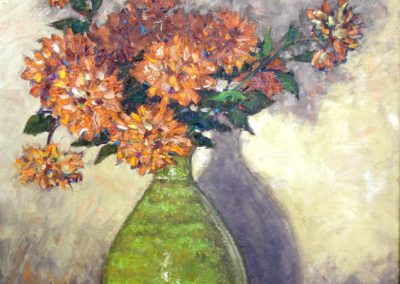 Floral in Green Vase