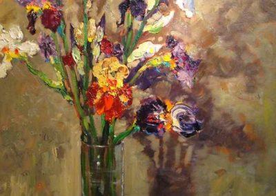 Iris in a Glass Vase
