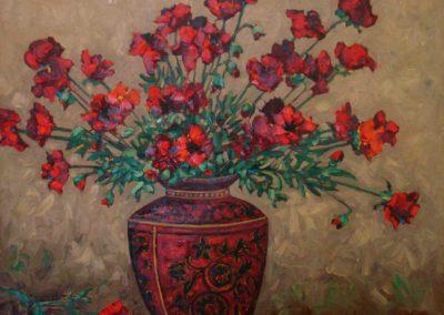 Red Poppies in Oriental Vase