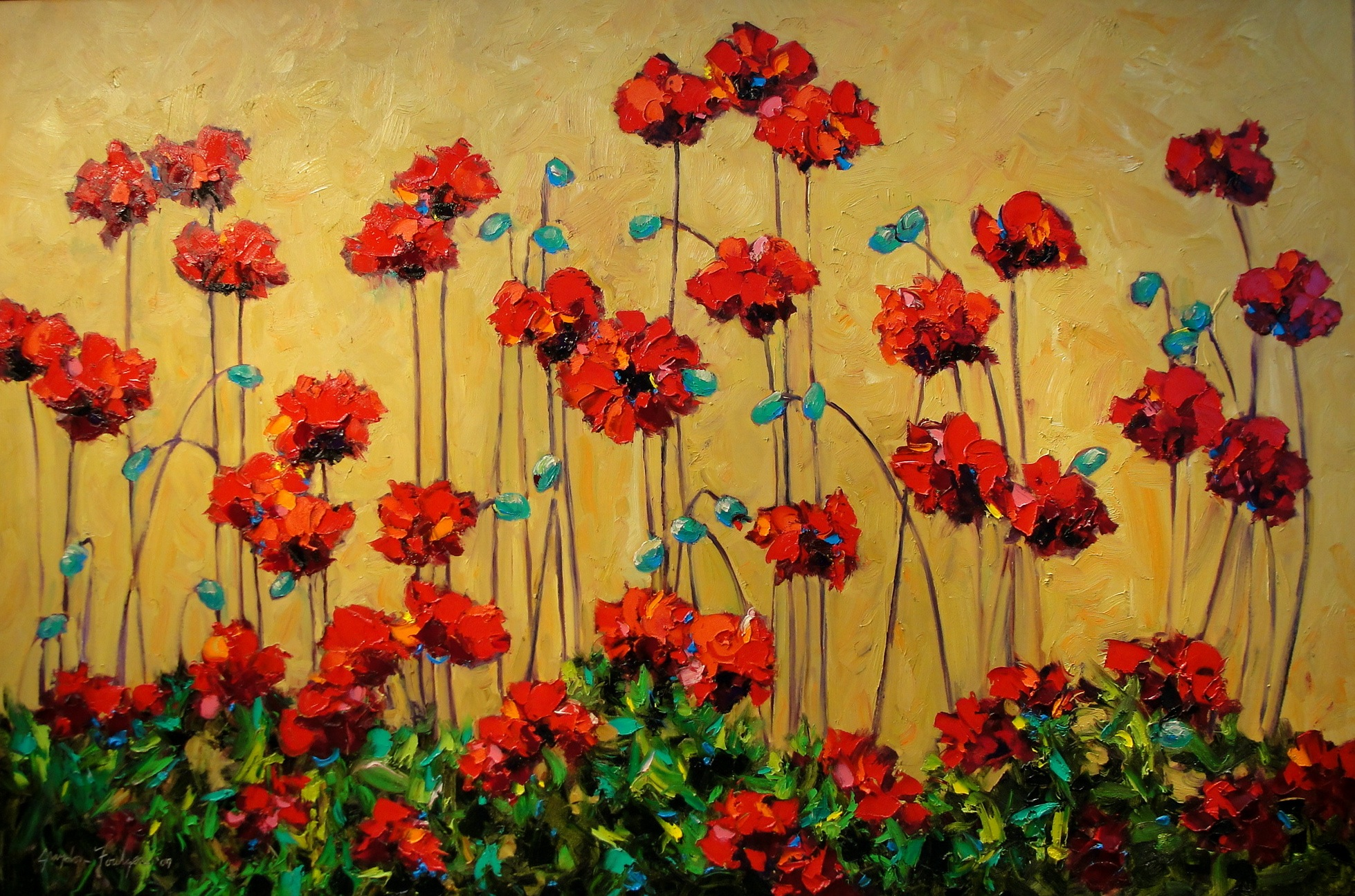 Red Poppies on Tan