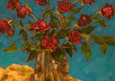 Red Roses on Turquoise