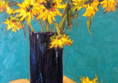 Sunflowers on Turquoise