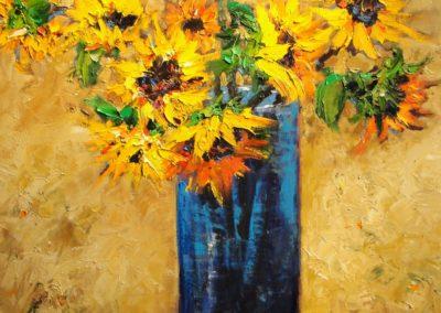 Sunflowers in Blue Vase II