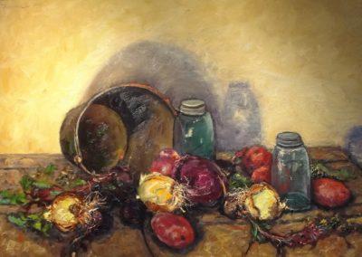 Vegetables with Antique Fruit Jars
