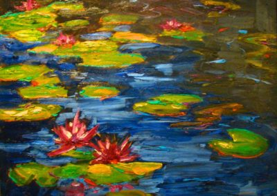 Water Lilies on Blue
