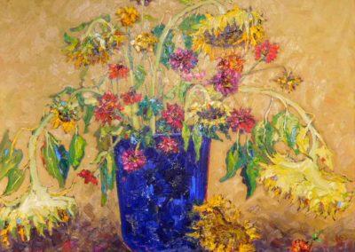 Zinnias Cosmos Sunflowers